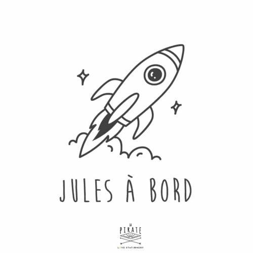 Stickers bébé à bord fusée, espace, personnalisé - La Pirate