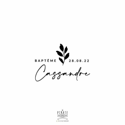 Tampon baptême Cassandre personnalisé, feuille, végétal