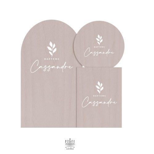 Stickers panneau baptême Cassandre personnalisé, feuille, végétal élégant