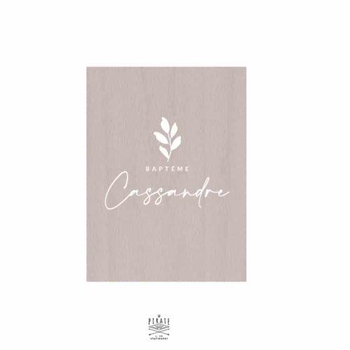 Stickers panneau baptême Cassandre personnalisé, feuille, végétal
