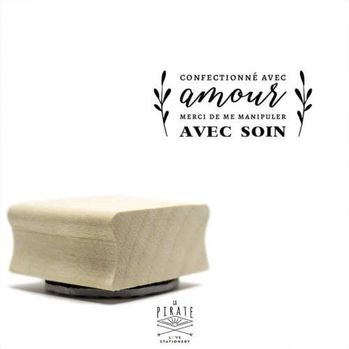 """Tampon """"Confectionné avec amour, merci de me manipuler avec soin"""", tampon packaging"""