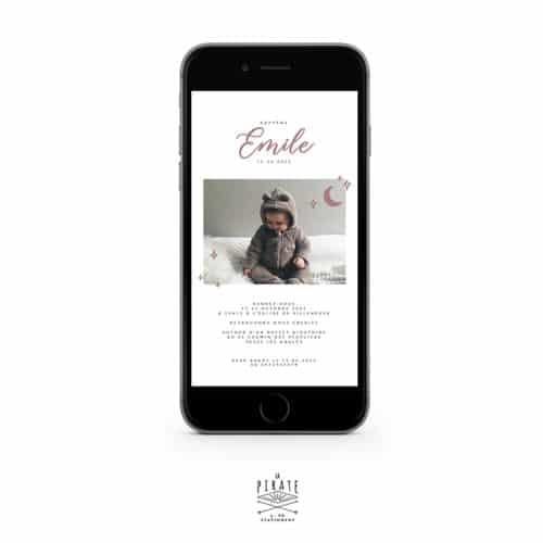 Faire-Part baptême photo électronique, motif Lune - collection Emile - La Pirate