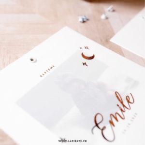 Faire-Part baptême photo, motif Lune -Faire-part calque carré + dorure cuivrée, collection Emile - La Pirate