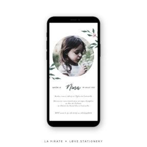 Faire-part baptême électronique, faire-part baptême aquarelle végétale | Collection June