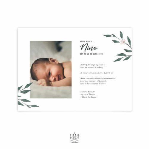 Faire-part naissance photo rectangulaire, motif aquarelle naturel, Collection June
