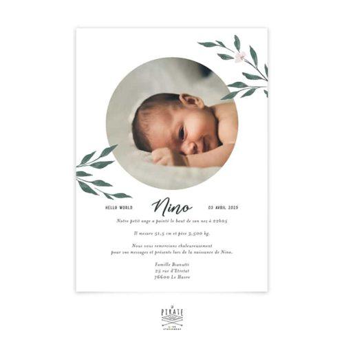 Faire-part naissance photo ronde, aquarelle naturel, Collection June