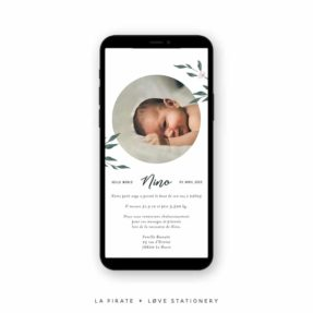 Faire-part naissance électronique, faire-part naissance aquarelle végétale | Collection June