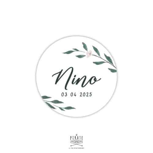 Stickers naissance rond personnalisé, motif aquarelle naturel, Collection June